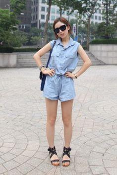 Casual Lapel Sleeveless Elastic-waist Short Jumpsuit Blue