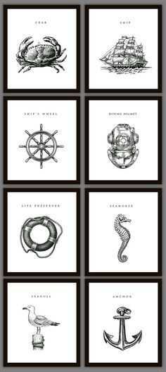 Love these! They look sort of vintage. Great for a gallery wall! 8 Nautical Home Decoration Art Prints