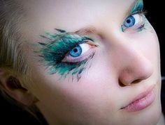 cool makeup peacock feathers, exotic makeup, fairy makeup, fairy costumes, makeup ideas, blue eye makeup, fairi, makeup designs, costume makeup
