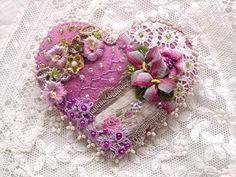 Crazy quilt heart pin