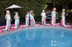 Gorgeous Mermaid Party! Love the towels, how creative! Found via www.karaspartyideas.com