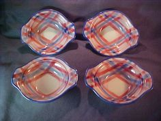 Vernon Kilns Pink and Blue Calico Lug Bowls Set of 4 from irgrimm on Ruby Lane