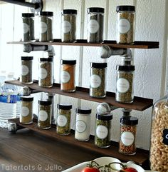 Create this industrial spice rack with directions from Tatertots and Jello.