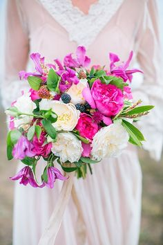 Hot pink bridal bouquet | Nicole Dianne Photography | see more on: http://burnettsboards.com/2014/10/romantic-cliffside-bridal-session/
