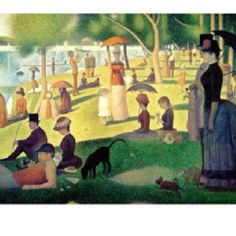 Georges Seurat - A Sunday Afternoon on the Island of La Grande Jatte – 1884 - One of his most famous works and is an example of pointillism which took him over two years to complete.  Seurat contrasted miniature dots of colors that, through optical unification, form a single hue in the viewer's eye.  Fascinating execution.