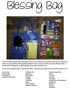 Blessing Bag - Make some Blessing Bags and keep them in your car so when you're driving along and see someone in need you can give them a Blessing Bag instead of cash. I purchased everything for my Blessing Bags from Aldi and Dollar Tree. @Carey Lane