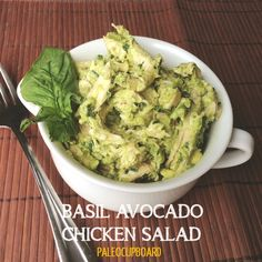 Easy Paleo Basil Avocado Chicken Salad  #basil #avocado #chicken #salad #lunch