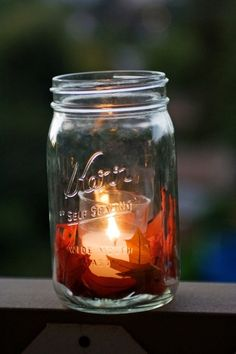 fall mason jar with