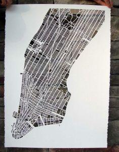 Paper Cut Map of Manhattan #papercut #manhattan #paper #NYC