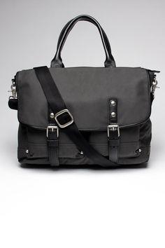 John Varvatos Coated Nylon Messenger Bag