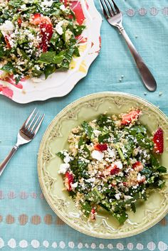 Kale & Quinoa Salad with Strawberries and Goat Cheese by foodiebride