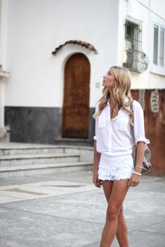 summer styles, white style, white shirts, street styles, white outfits, summer outfits, white lace, style summer, lace shorts