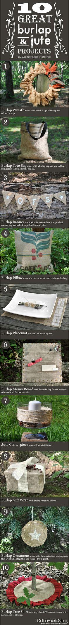 10 Great Burlap & Jute Projects by Onlinefabricstore.net