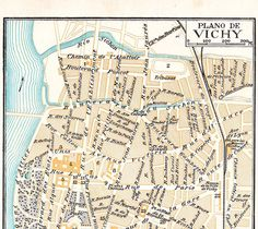 Vichy France Vintage City Plan 1920s Map by carambas on Etsy, $12.00