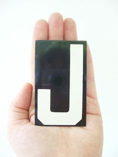 vintage letter J enamel metal sign hanging by RecycleBuyVintage, $8.00