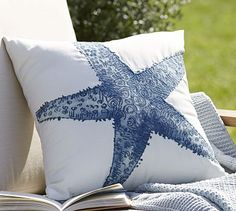 Starfish Embroidered Outdoor Pillow #potterybarn