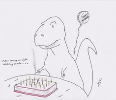T-Rex Trying to Light Birthday Candles…  #TRexTrying