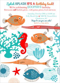 ocean party invites, under the sea birthday party, boy party themes, paryt invites
