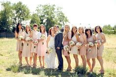 blush bridesmaid dresses - - photo by Pepper Nix Photography - http://ruffledblog.com/backyard-chic-utah-wedding/