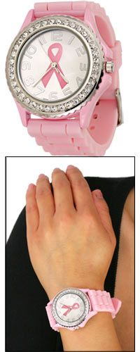 Pink Ribbon Rhinestone Silicone Watch at The Breast Cancer Site