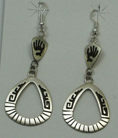 Navajo Indian Earrings Bear Claw Sterling Silver Overlay Dangles Stanley Gene