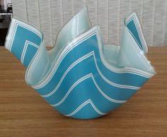 VINTAGE CHANCE ART GLASS, LARGE HANDKERCHIEF BOWL. BLUE/WHITE