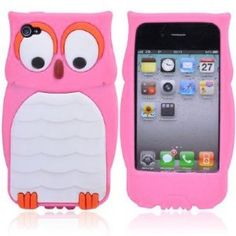 Apple Iphone 4 4S Owl Baby Pink Silicone Protector Cover