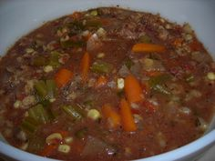 Beef-Barley Soup from Food.com: Hearty, easy one dish meal that cooks itself while you're gone. Serve with salad and bread, and you have a whole meal.