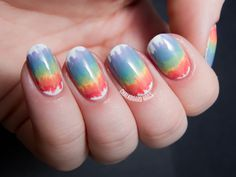 Melted Rainbow Nail Art with the Seche Perfectly Poised Collection   Chalkboard Nails   Nail Art Blog