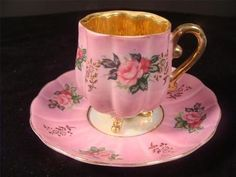 Vintage Iridescent 3 Footed Pink Melon Demitasse Teacup