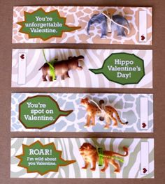 You're a Wild Animal! A precious Valentine DIY idea with plastic animals.