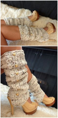 Oatmeal crochet Leg warmers with stirups