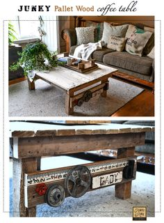 A junk styled funky pallet wood coffee table made from scratch. via Funky Junk Interiors