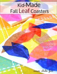 Kid-Made Fall Leaf Coasters via Inner Child Fun