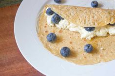 Crepes with honeyed ricotta and blueberries