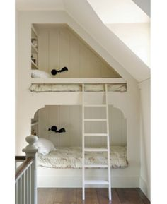 white built in bunk beds with black lights: Remodelista