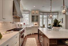 kitchen subway tile backsplash, traditional kitchens, kitchens subway tile, gorgeous kitchen, pendant lights, subway tiles, kitchen designs, white kitchens, island