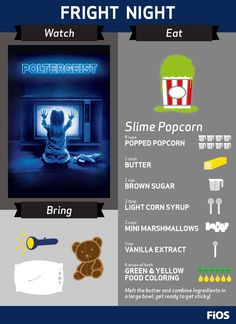 Settle in for a frightening On Demand Movie Night featuring Poltergeist. Turn up the fright factor by making the slime popcorn recipe (don't forget the flashlight to scare away the ghosts!) #movienight