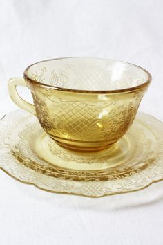 Yellow Depression Glass Cup and Saucer by KristensPrettyThings, $6.00