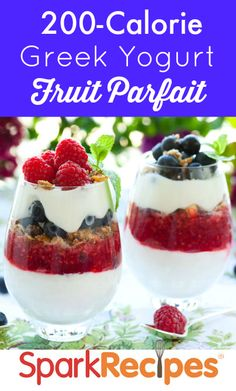 A sweet and skinny Memorial Day treat: Greek Yogurt Berry Parfaits. Enjoy your red, white and blue without artificial dyes or colorings. | via @SparkPeople #food #recipe #patriotic #party #healthy