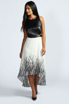 Helen PU Strap Back Woodland Print Dip Hem Dress at boohoo.com