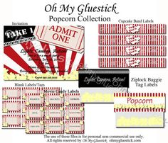 Popcorn Movie Night Party #kids #popcorn #party #invitation #movie @Oh My Gluestick - Continued!