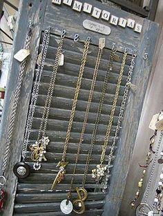 Old shutter jewelry hanger