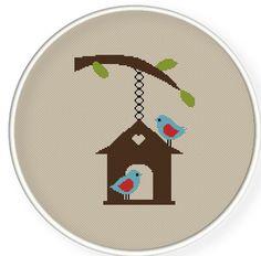 Buy 4 get 1 free ,Buy 6 get 2 free,Cross stitch pattern, PDF,two birds in love ,ZXXC0219. $4.00, via Etsy.
