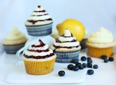 Blueberry Cupcakes with Lemon Buttercream Frosting and Blueberry Sauce