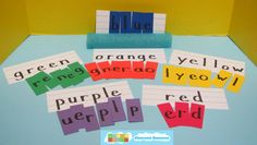 Color Word Pool Noodle Set Idea from HeidiSongs