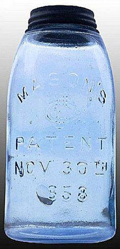 Mason's, CFJ, Patent Nov 30th 1858, Sky Blue, 12 Gallon.A half-gallon medium sky blue Mason's CFJ Patent Nov