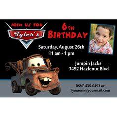 Disney Cars Mater Photo Birthday Party Invitation