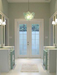 Sherwin Williams Sea Salt SW6204.  Pretty bathroom color?