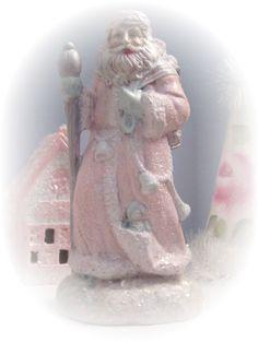 PINK SANTA Claus St Nick Figurine Victorian by RoseChicFriends, $16.99